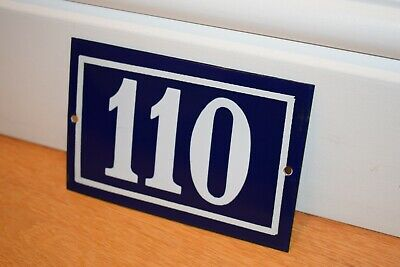 Vintage French Enamel Metal House Sign Number 110 - See Photos