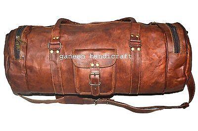 Styles Men's duffel genuine Leather large vintage travel weekend overnight bag