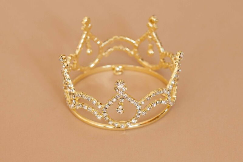 Gold Mini Tira Crown for Newborn - Baby Photo Prop Crystal and Rhinestone 4012