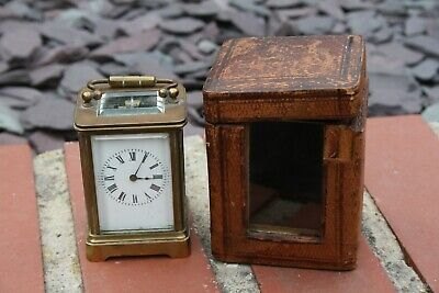 ANTIQUE CASED FRENCH BRASS MINUET CARRIAGE CLOCK FOR TLC