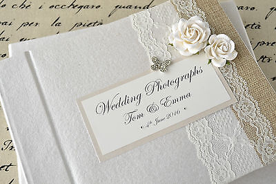 Personalised Wedding Photograph Album - Vintage Lace, Rose & Butterfly Design