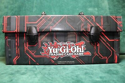 YUGIOH CARD STORAGE CARRYING CASE TRIPLE DECK LUNCH BOX BLACK & RED ZEXAL ART