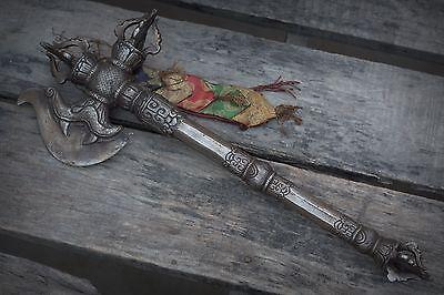 IRON Antique Tibetan Khatvanga Phurba Ritual tool Wand Scepter Chitipati khatang