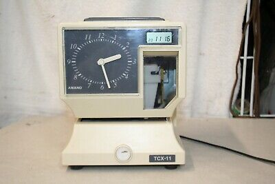 Amano Tcx-11 Electronic Time Card Clock Analog Digital Lcd No Key - Tested.