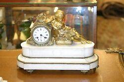 ANTIQUE FRENCH GILDED BRONZE MANTEL CLOCK, C.1880 CHERUBS, STUNNING