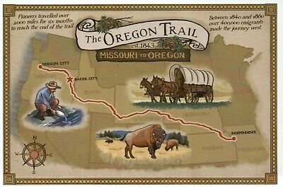 - The Oregon Trail Map Missouri to Oregon, Covered Wagon Buffalo - Modern Postcard