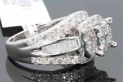 10K WHITE GOLD 2.83 CARAT WOMEN REAL DIAMOND ENGAGEMENT RING WEDDING RING BRIDAL