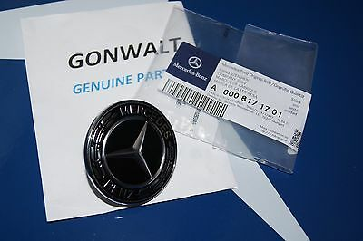 Mercedes Benz Black Flat Hood Badge Emblem C E S Class Genuine 0008171701