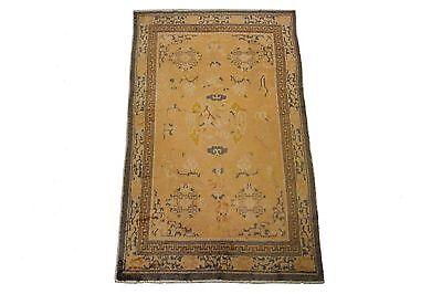 (Vintage Tibetan Rug Hand Knotted Carpet 100% Wool 5'x9' Gold Circa 1960)