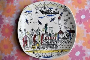 Vintage Scandinavian Stavangerflint Bergen Hand Painted Norway Wall Plaque