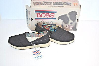 New Bob's from Skechers High Jinx Espadrille Wedge Shoes Black NIB ()