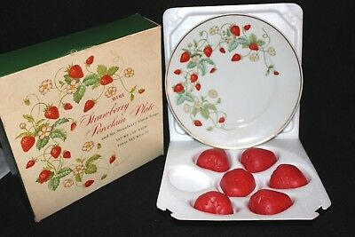 vintage AVON collectible STRAWBERRY SOAP DISH PLATE w/ 22K GOLD TRIM and 5 SOAPS