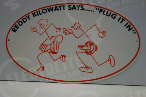 "Reddy Kilowatt ""PLUG IT IN"" ELECTRIC COMPANY LIGHT DIE CUT SIGN ELECTRICIAN GIFT"