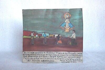 Vintage 1977 Mexican Folk Art Religious Retablo Oil Painting Tin Virgin Mary