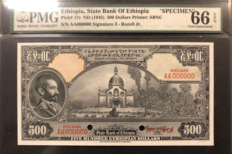 Ethiopia Banknote Specimen. P 17s  EPQ Grade 66