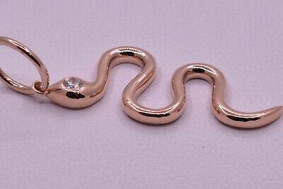 14k Gold Round Snake Pendant (Snake Pendant with Diamond in 14K Rose Gold )