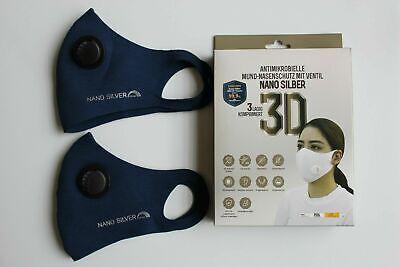 2x Waschbare Atemschutzmaske mit Ventil Maske Nano Silver 3D Blau NEU