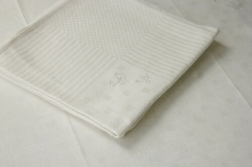 Four Holiday Napkins Antique White RA Monogrammed Linen Damask w/ Check Pattern