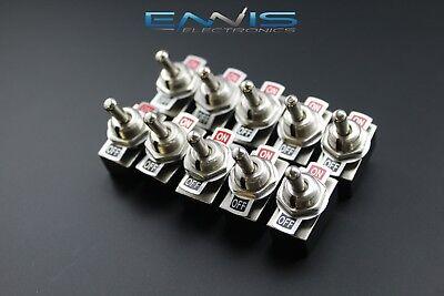 10pcs Toggle Switch Spst On-off Metal Toggle 2 Amp 250v 4 Amp 125v 2 Pin Ec-1503