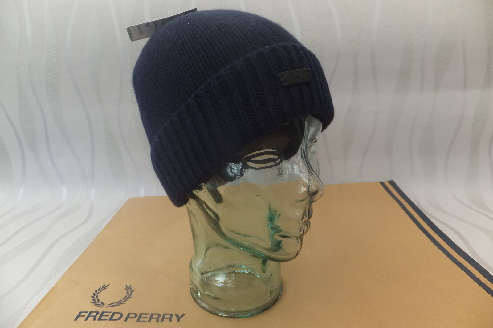 6560da0fe FRED PERRY Beanie Men's Ribbed Knit Navy Hat Turn up Wool Skull Cap BNWT
