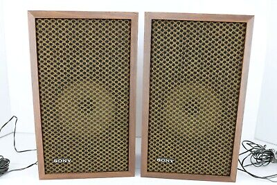 Vintage Sony Bookshelf or Wall Hanging Speakers in Wood Cabinets