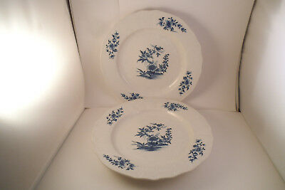 Antique Rare Pair Of Ar Marks Arras French Porcelain Dinner Plates Blue Flowers