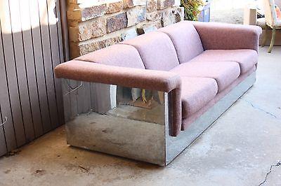Milo Baughman Era Spectacular Chrome Encased Mid Century Sofa