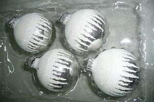 Christbaumkugel Weihnachtskugel Christbaumschmuck Glas Krebs  silber weiß Schnee