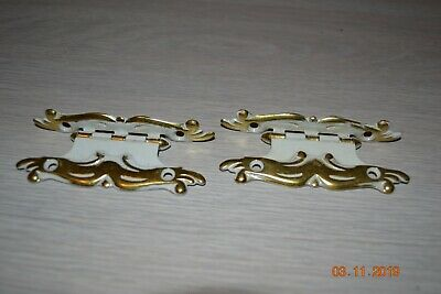 Vintage Cabinet Door Hinges White with Gold Trim 3/8