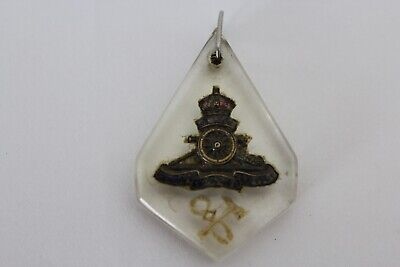 """WWI The Gunners Trench Art sweet heart pendant jewellery """"Love from Ted"""" on back"""