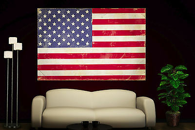 Vintage Giclee Canvas (Canvas Giclee Prints Art Vintage American Flag Photo Colorful Print Decor Red 2)