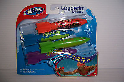 Swimways Toypedo Bandits Swimming Pool Water Toy Glides Underwater 20 Feet New