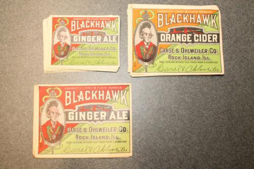 Lot of 31 Rock Island Ill Assorted Blackhawk Ginger Ale Orange Cider Labels