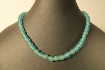 Antyki i Sztuka Antyki i sztuka, inne kraje Recycled Glass Beads Ghana Krobo Strang Altglasperlen 13 mm opak weiß