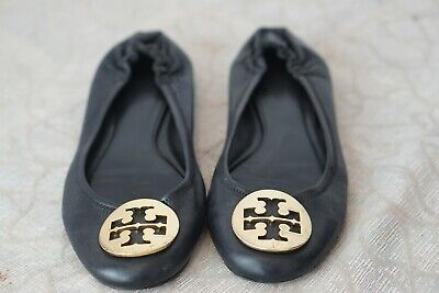 TORY BURCH BLACK LEATHER GOLD LOGO FLATS SIZE 8 M