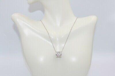 GUCCI Icon Twirl BARREL Engraved Pendant Necklace 18K White Gold & -