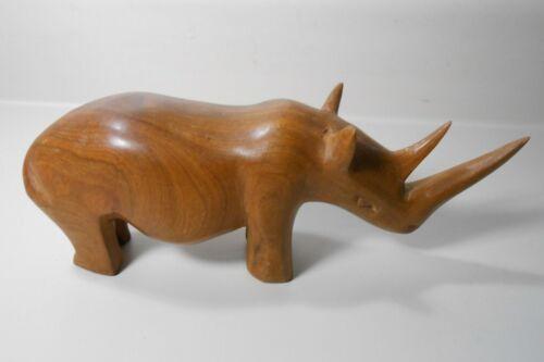 Teak Wood Rhinoceros Vintage Collectible Hand Carved