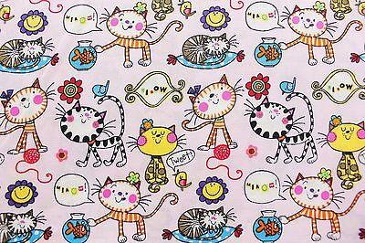 Ткань Cute Cats Pink Kawaii Cat
