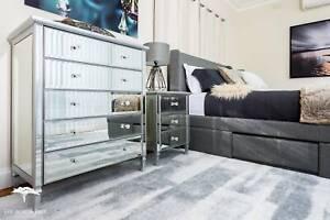 Gem Mirrored Furniture (Bedsides and Tallboy) - Matching Furniture