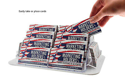 Business Card Holder Rotating 18 Pocket Clear Countertop Display Qty 12