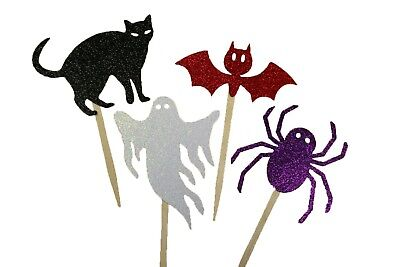 GLITTER Assorted Halloween Cupcake Topper Pick CHOOSE Package Amount