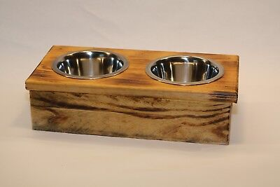 Double Small Elevated Dog Dish Small Feeding Stand Dog or Cat Feeder
