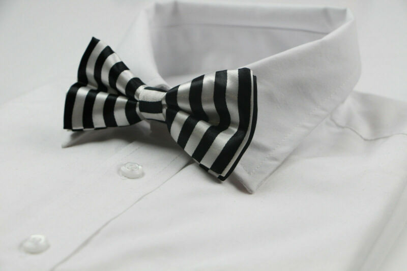 Mens Black And White Vertical Striped Bow Tie Pre-tied Bowtie Wedding Formal