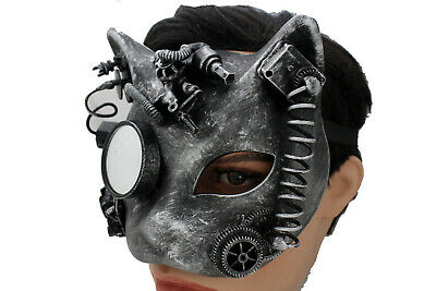 Men Women Black Color Panther Face Mask Rave Gothic Steampunk Halloween Costume