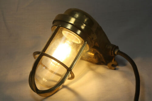 Brass Nautical Bulkhead Light Fixture Maritime Industrial Ship Cage Lamp Salvage