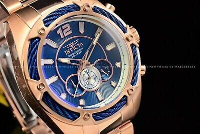 Invicta Men's 52mm Bolt Rose Gold Blue Dial Chronograph Quartz Bracelet SS Watch