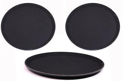 3 Serviertabletts Ø 35,5 cm Anti-Rutsch Gastro Bar Kellner Tabletts Tablett SET