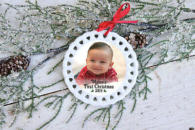 Personalized Ceramic Ornament: Custom Photo Baby's First Christmas 2019 - Custom