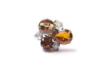 - Perfect Girly Lightweight Ring w Large Brown Toned & Round White Gemstones(T333)