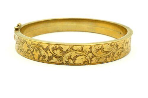 "Vintage Antique Victorian 8k 333 Yellow Gold Floral Etched Bangle Bracelet 6.75"""